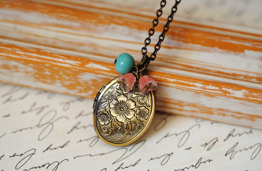 Vintage Locket, Long, Turquoise And Pink Flowers Necklace