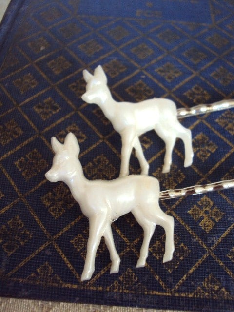 Vintage Deer Hair Pins Pearlized findings