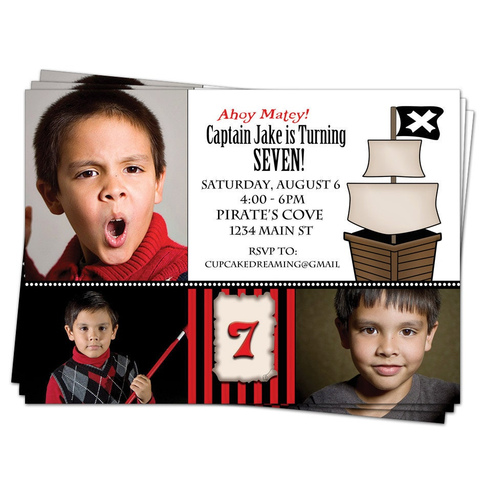 Pirate Birthday Invitations for Kids Boys Printable Party Design - CupcakeDream