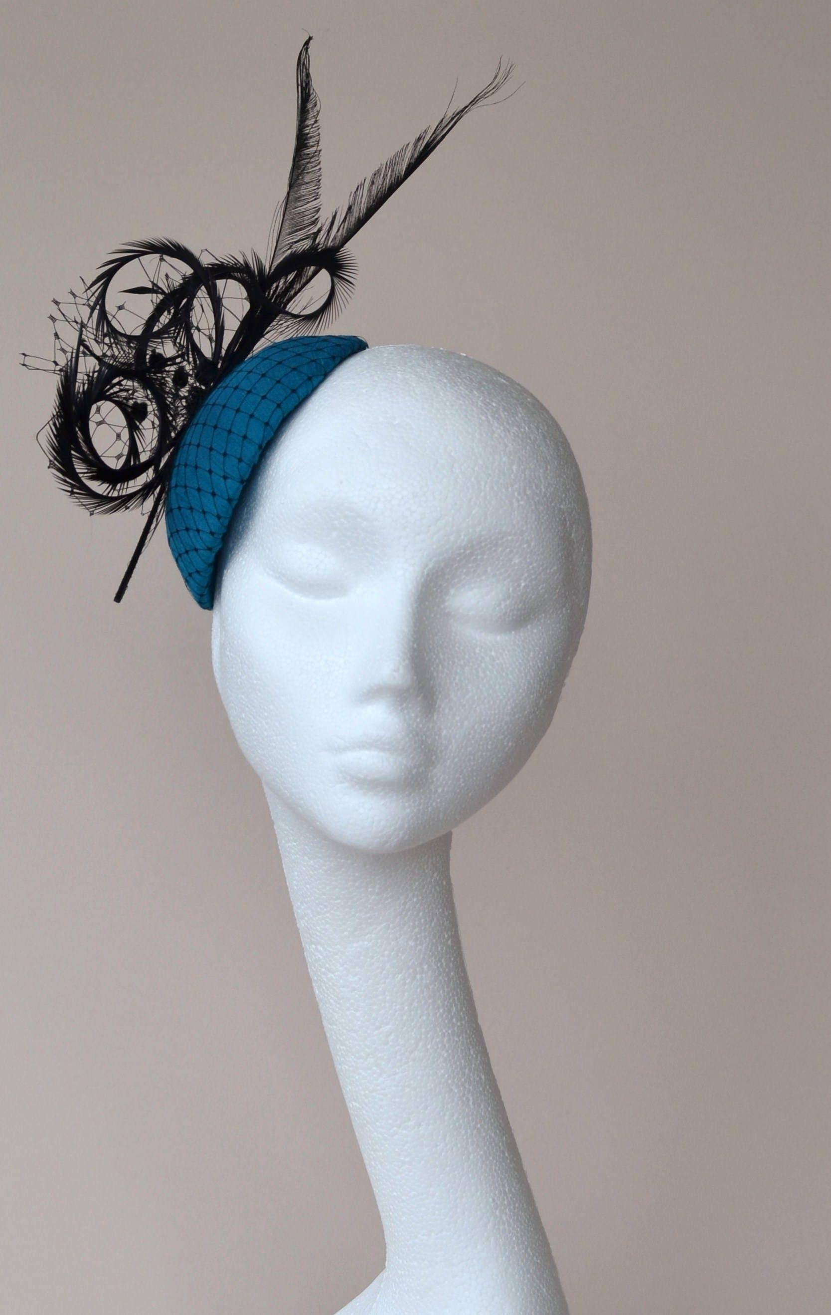 Blue fascinator. Turquoise fascinator. Blue wedding hat. Turquoise Ascot hat. Teal Derby hat. Teal black fascinator. Turquoise percher hat.
