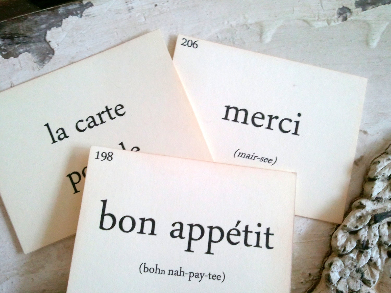 French Flashcards, French Words, French Home Decor, Scrapbooking, Small Embellishment, Set of 12 - 33PaperLane