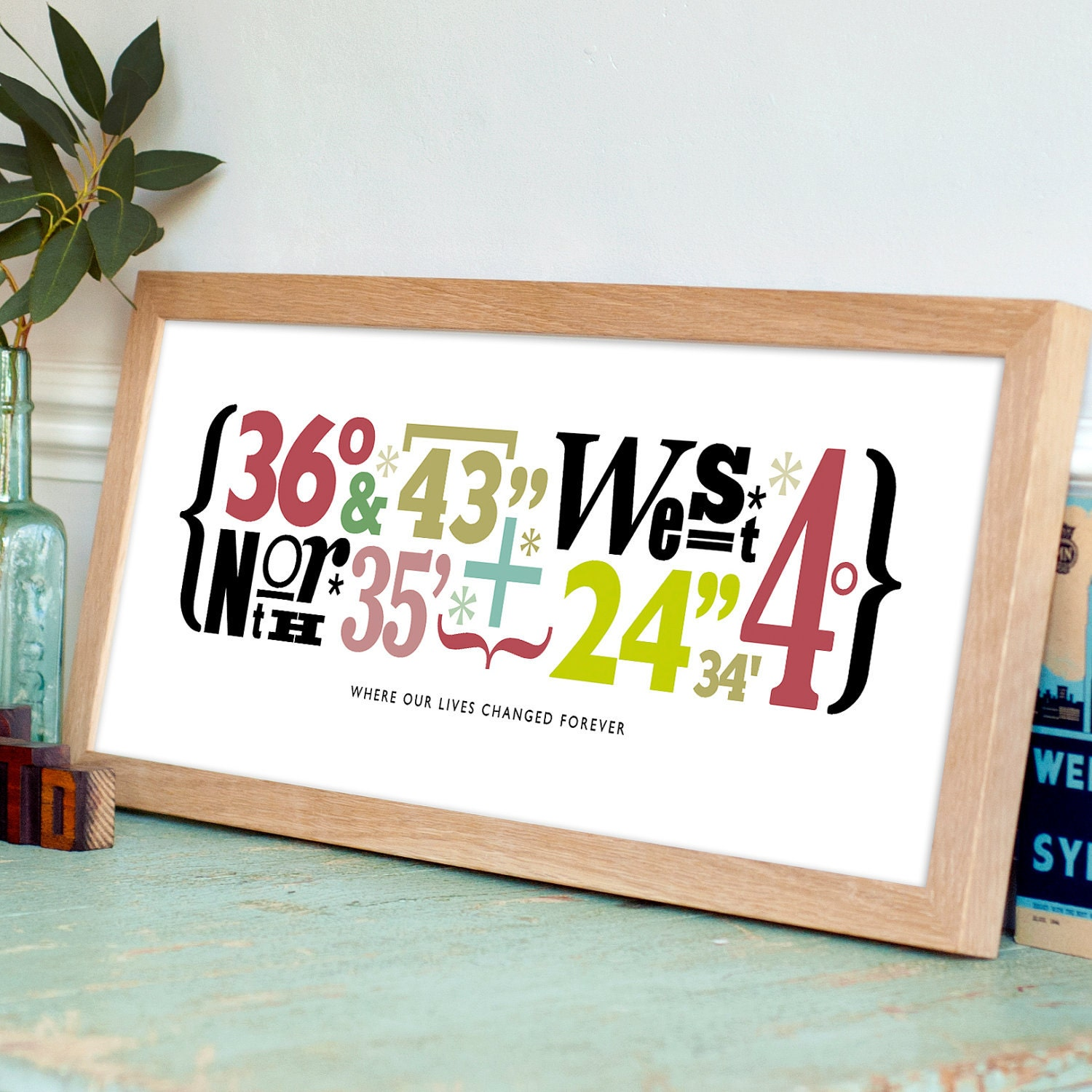 Personalised Wedding Gift Coordinates : Typographical Coordinate Print8x20 inchesUnique gift for wedding ...