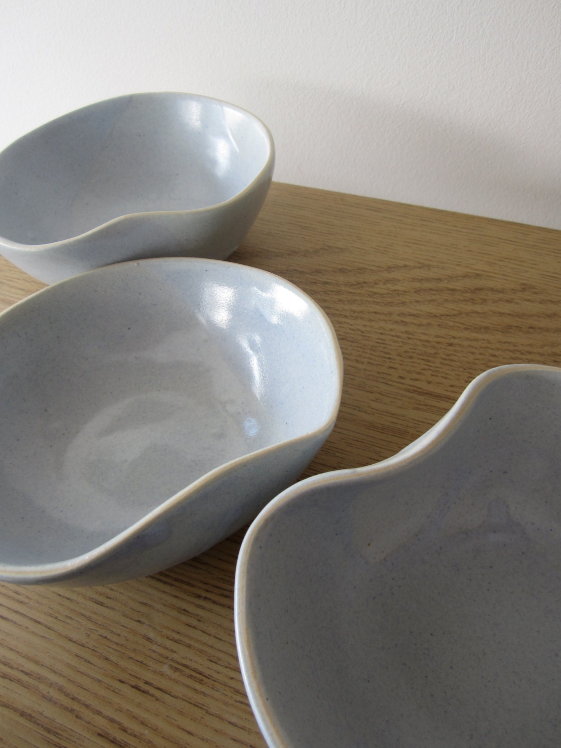 Ceramic Bowl Asymmetrical in Shape with Baby Blue Glaze - SimoneCeramics