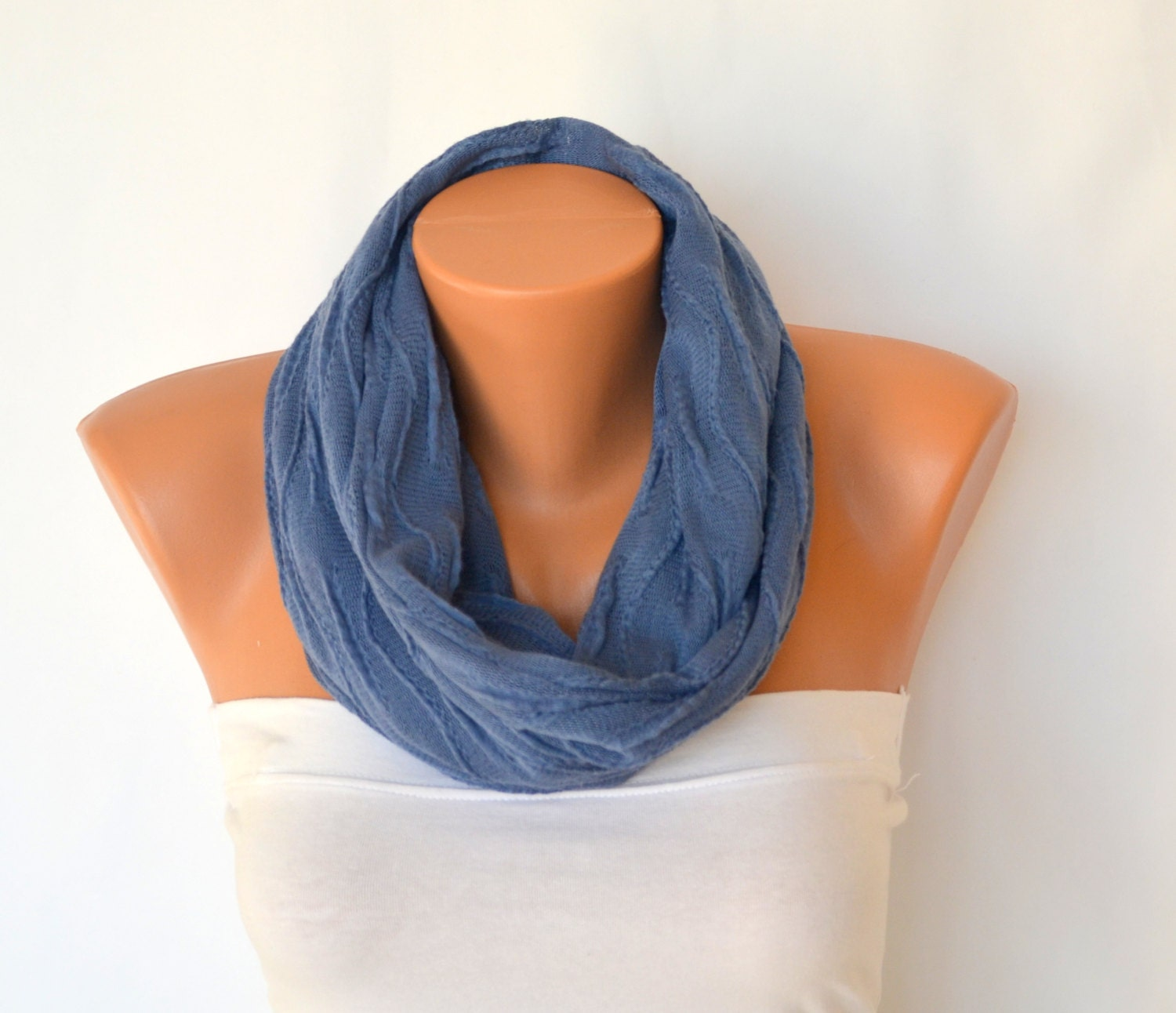 Denim blue machine knit infinity scarf circle scarf winter scarves neck warmers cowl birthday gifts fashion accessories - bstyle