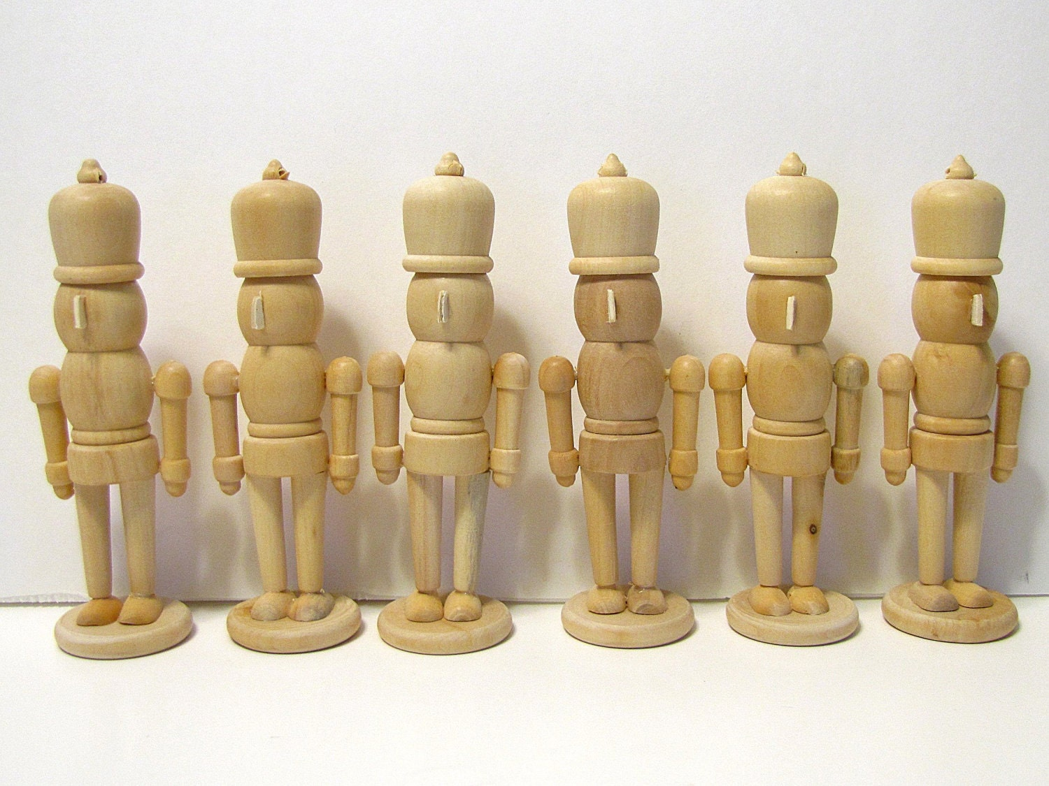 6 Nutcrackers, Unfinished Wood, DIY, Ready to Paint - ToleTreasures