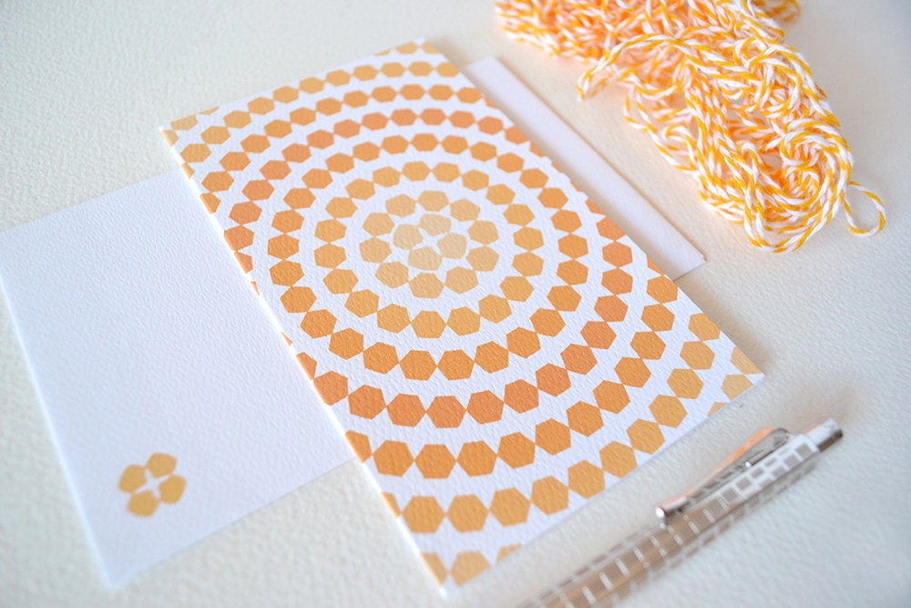 Tangerine Orange Ombre Card with Hexagon Circles - PaperIvy