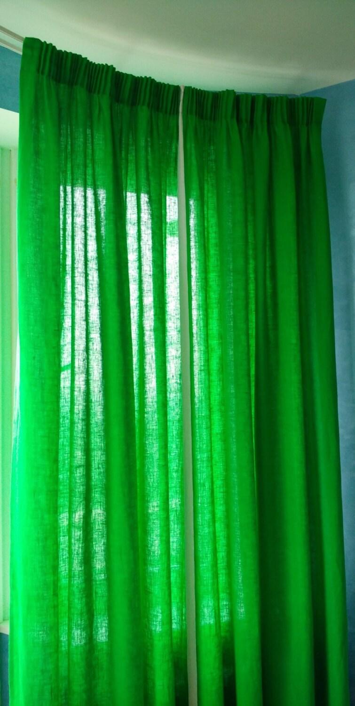 Green linen curtains