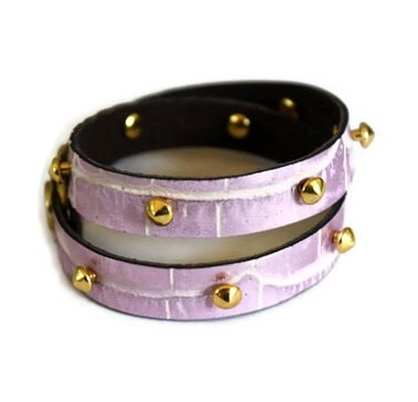 Studded Leather Wrap Bracelet - Crocodile Light Pink - shopkei