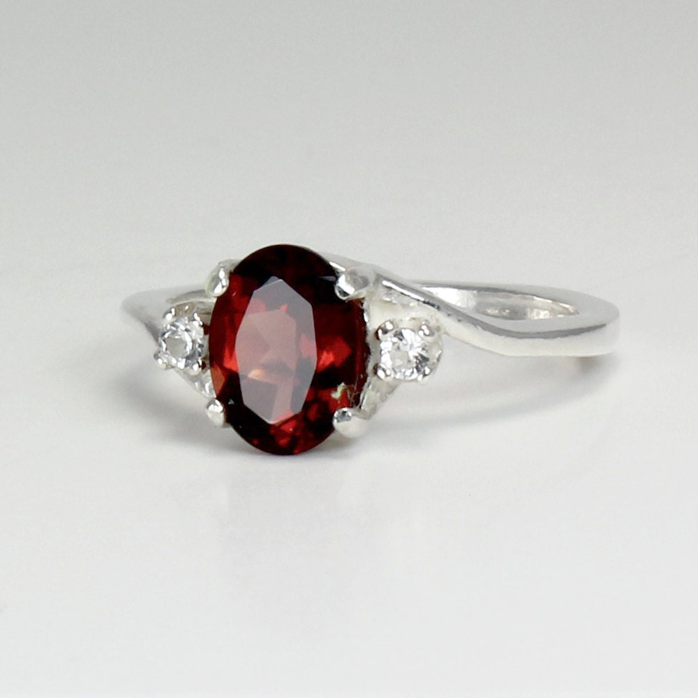 Sterling Silver Garnet Ring with Sapphires / Garnet Silver Ring ...