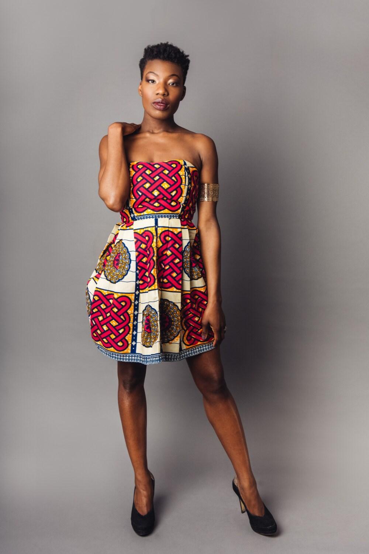 Burgundy Blue  Yellow African Print Mini Dress