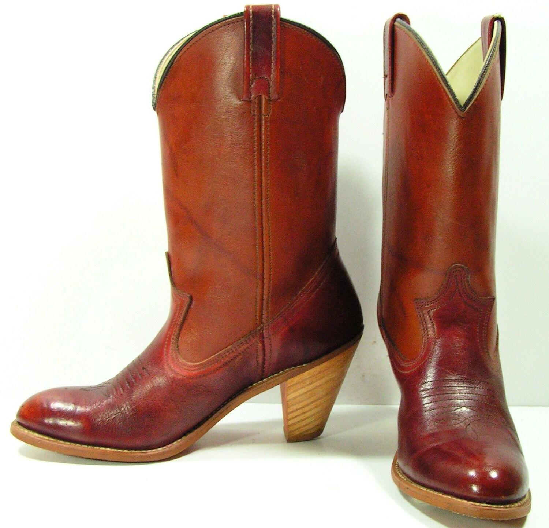 cowboy boots womens 6 5 m b brown high heel by