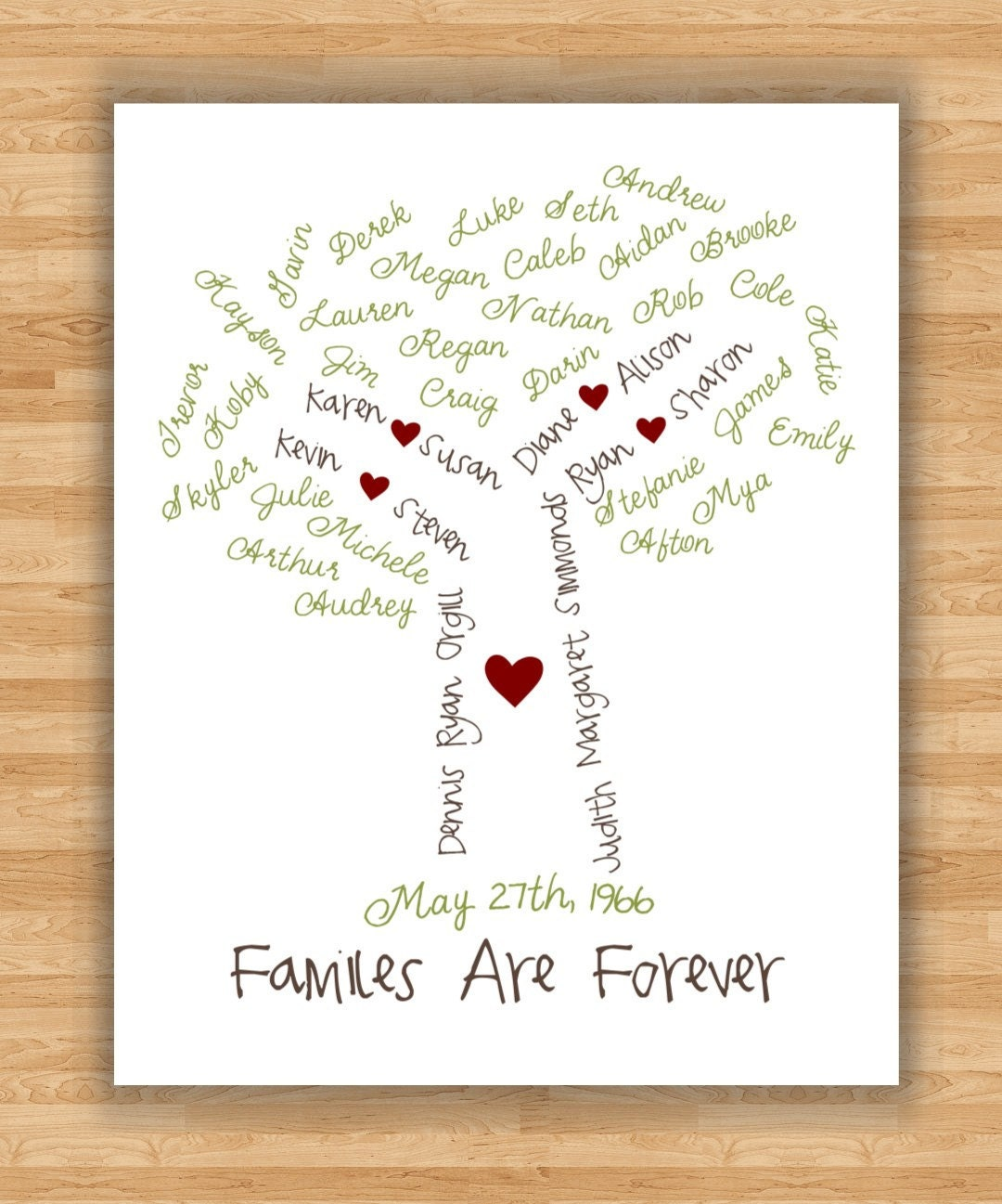 11x14 wall art print personalized family tree by. Black Bedroom Furniture Sets. Home Design Ideas