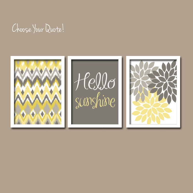 Yellow gray wall art girl child canvas artwork hello by for Bathroom canvas painting ideas