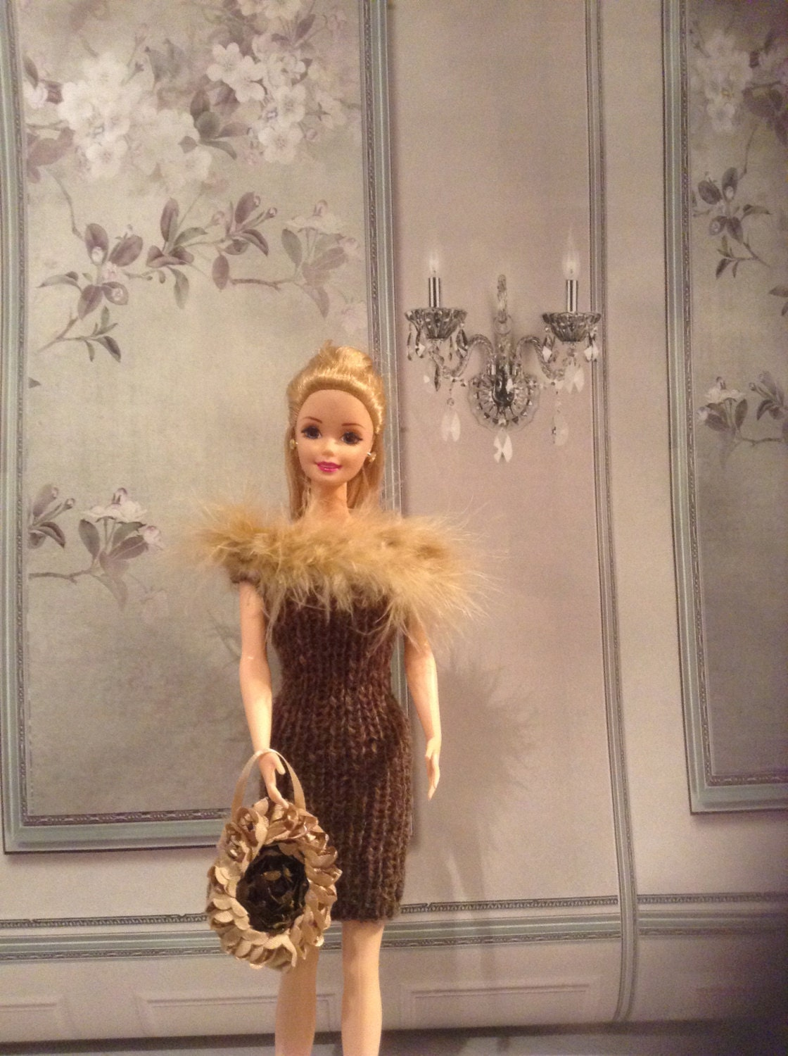 Handmade knitted dress with marabou detail and handbag to match ideal for Barbie or Sindy