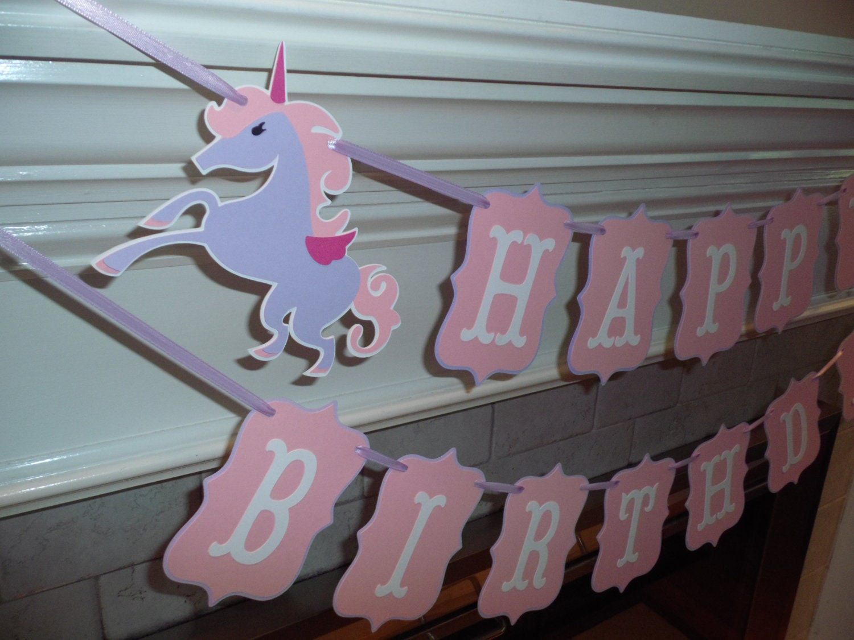 Unicorn Birthday Banner: UNICORN Happy Birthday Banner Pink Banner By