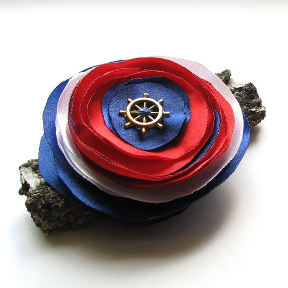 nautical brooch fabric brooch navy red white - albado