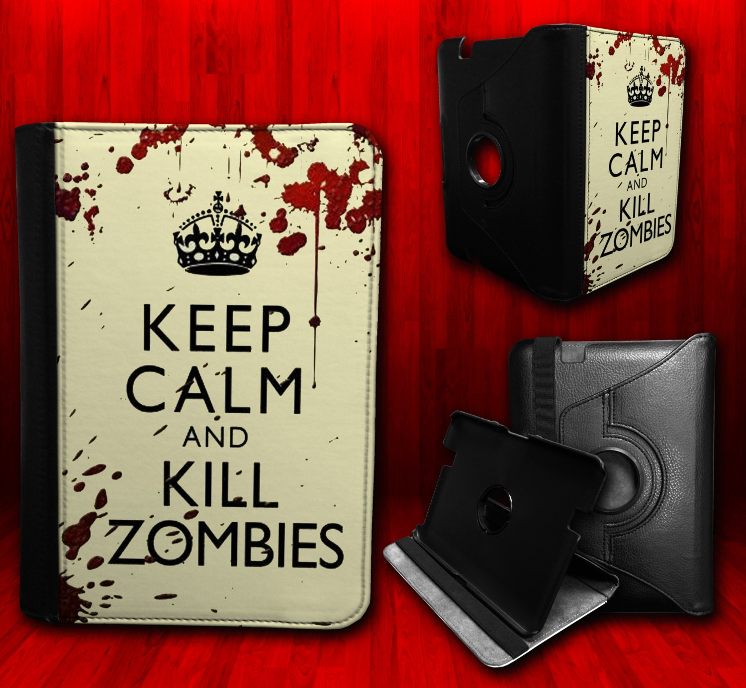 "Keep Calm And Kill Zombies - Kindle Fire Hd 7"" Leather Book Cover Case"