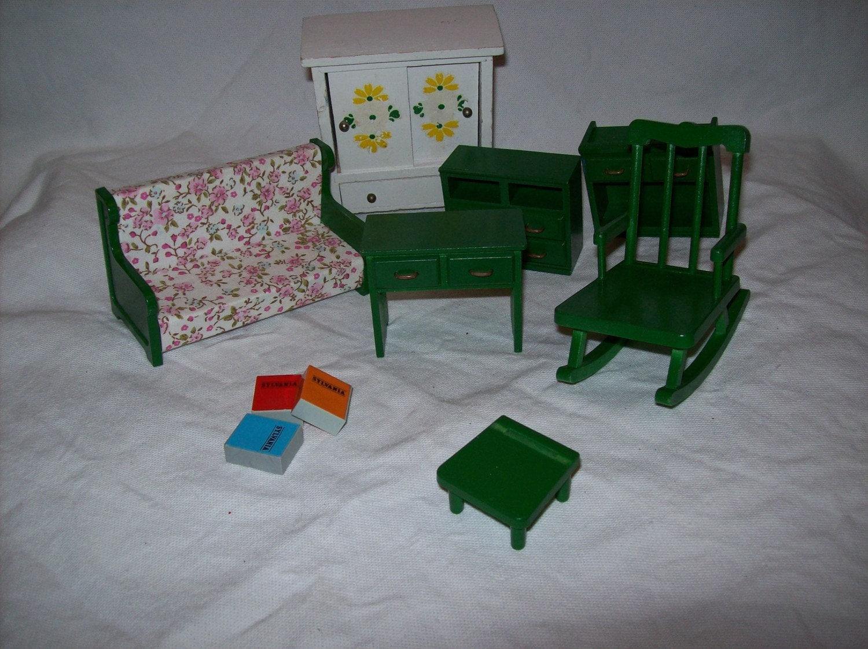 Vintage Toys Dollhouse Furniture Wood Plastic Books By Misshettie