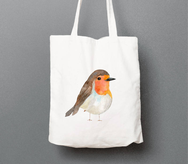 Robin Tote Bag Eco Friendly Reusable Shopper Bag Cotton Tote Shopping Bag Eco Tote Bag