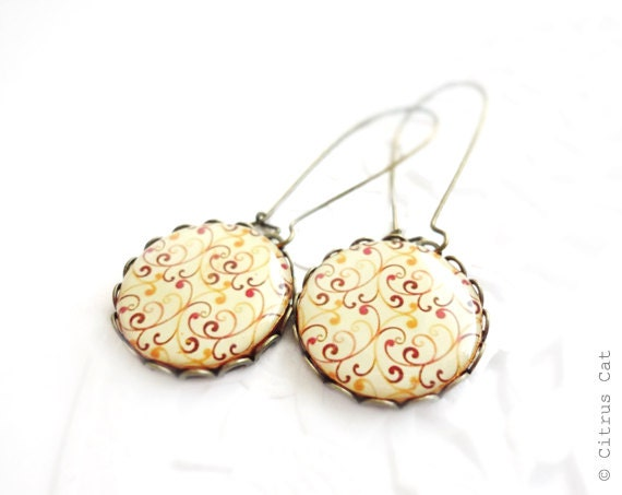 Red orange swirls earrings in antique brass - CitrusCat