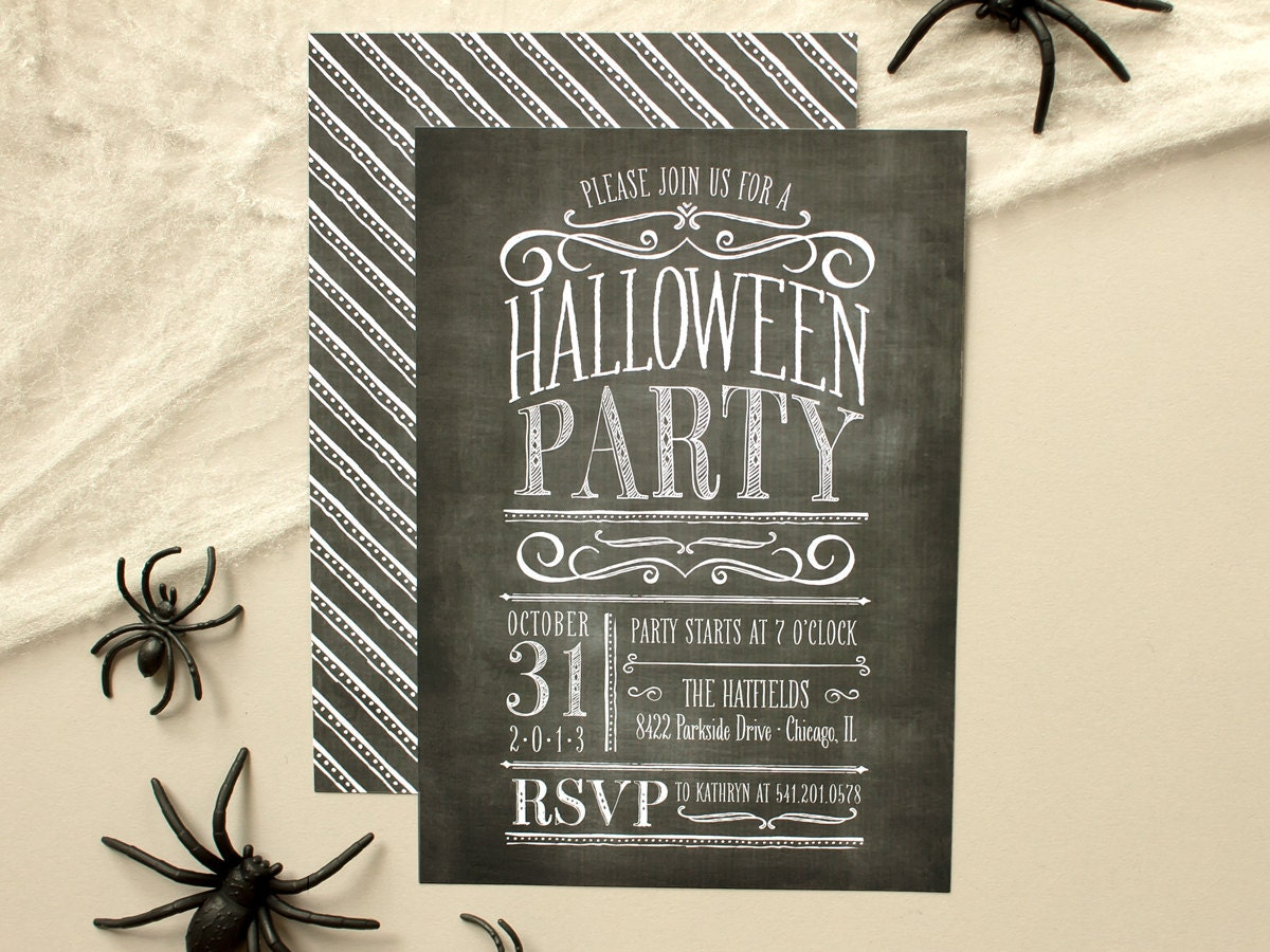 Vintage lettering chalkboard halloween party by banterandcharm for Vintage halloween party invitations