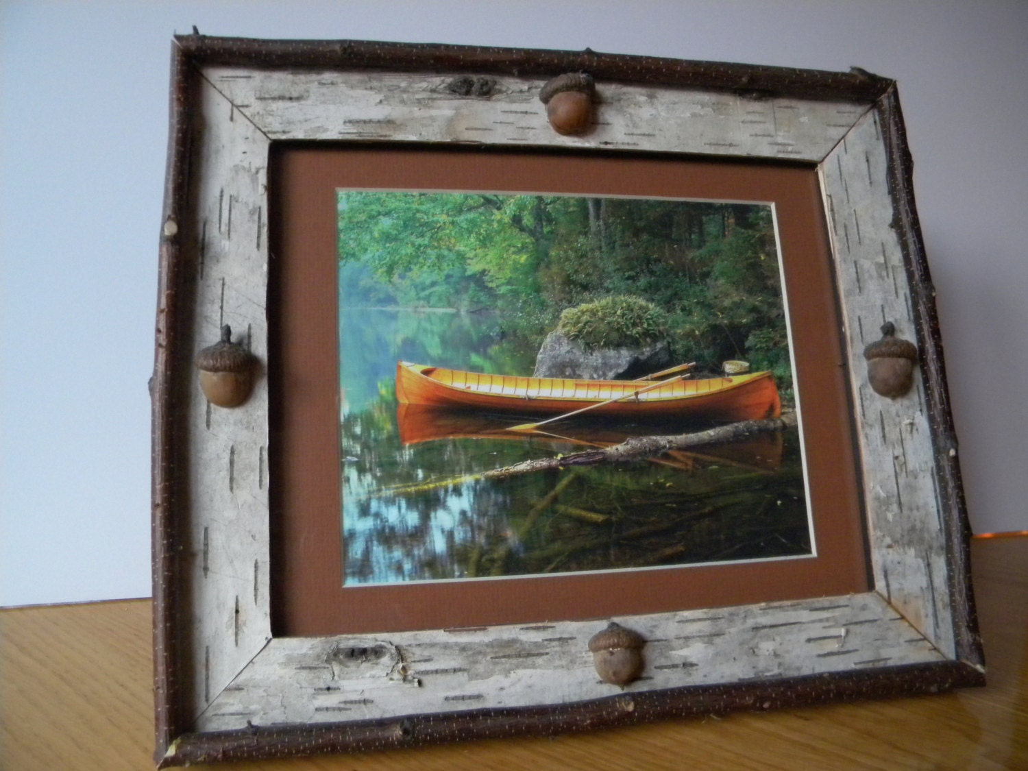White birch picture frame guideboat on by