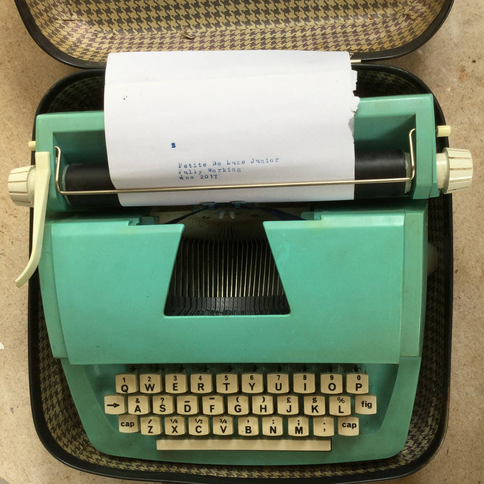 1970s Petite Junior De Luxe Typewriter and Carry Case Made in England for Mettoy Playcraft LTD