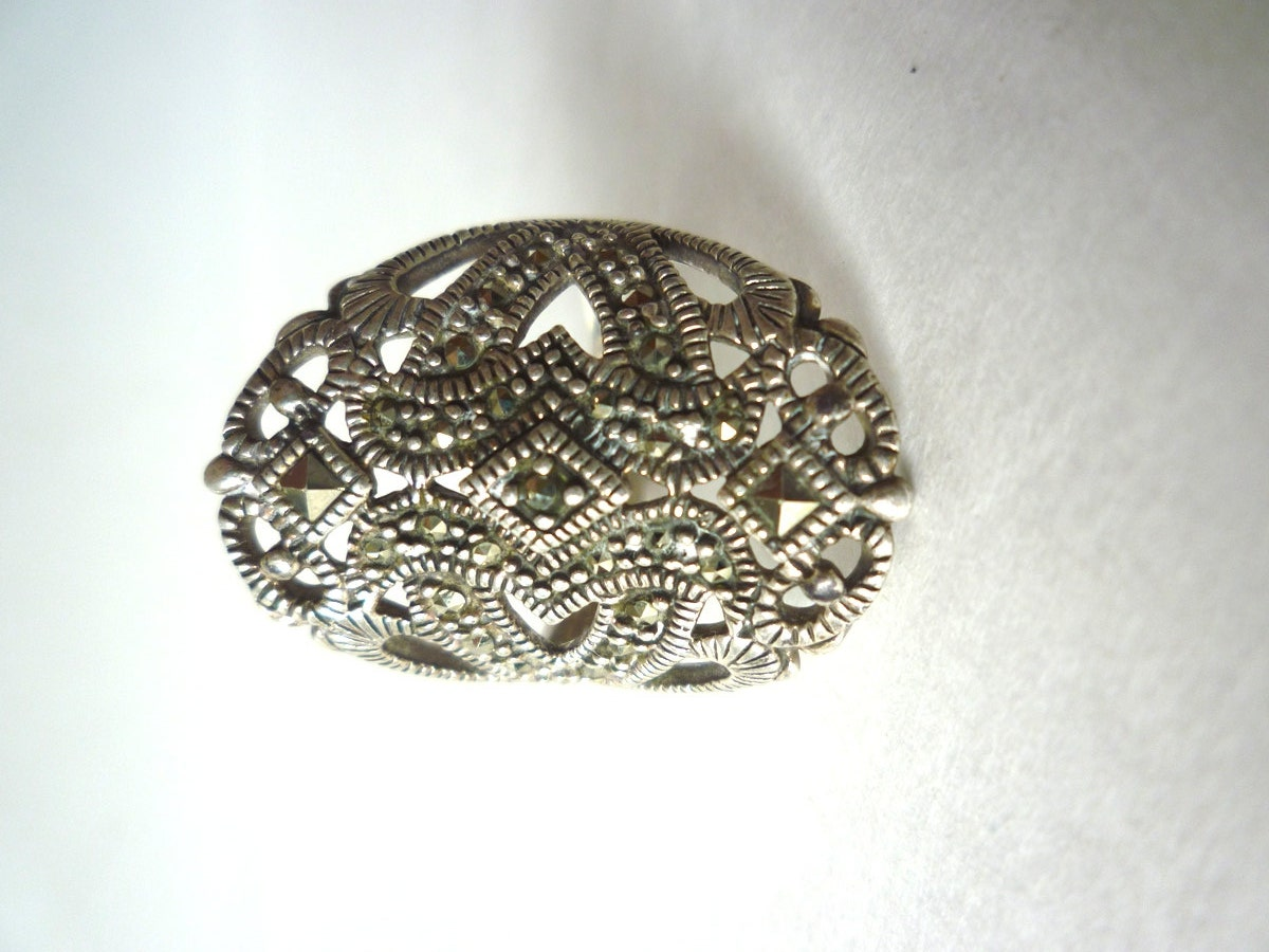 vintage marcasite cocktail ring 925 sterling silver by
