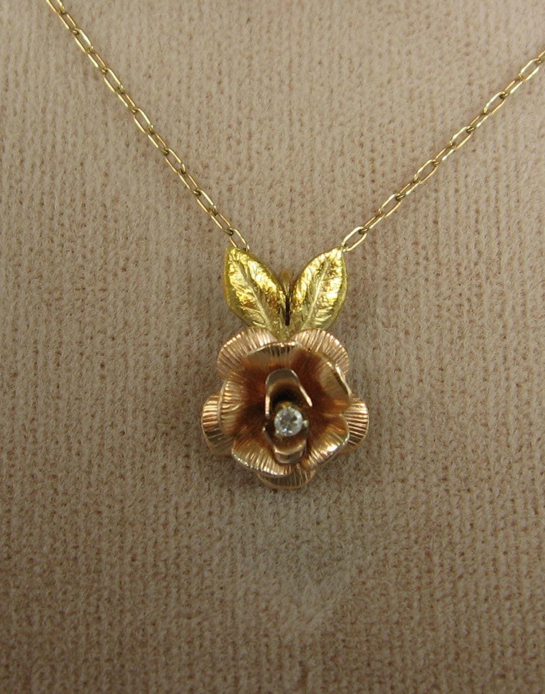 vintage krementz necklace 14k gold by