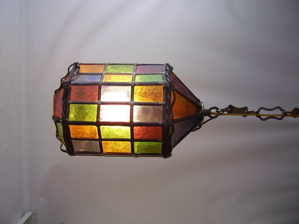 Vintage Stained Glass Leaded Hanging Light By