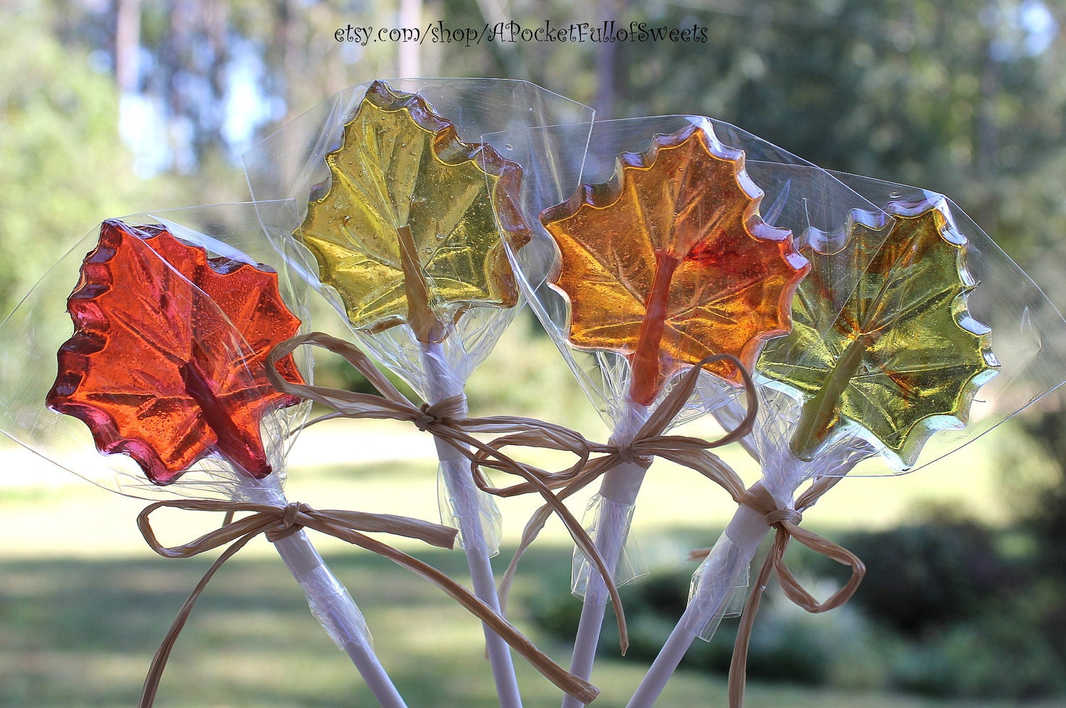 12 FALL LEAVES Hard Candy Barley Sugar Lollipops Suckers Party Favors Gift Maple Leaves Wedding Favors - APocketFullofSweets