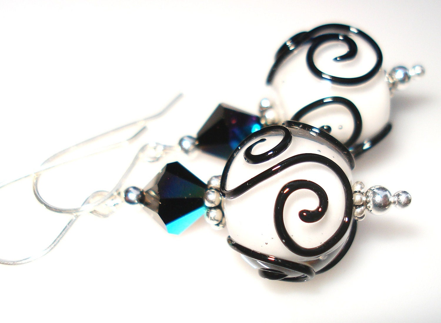 A Black Tie Affair, Handcrafted Jewelry, Handmade Earrings with White Glass Lampwork Beads and Black Scrolls, Sterling Silver