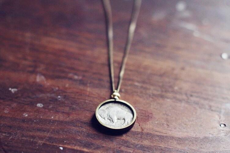Limited- Vintage Buffalo Nickel necklace - RoseAndAnchor