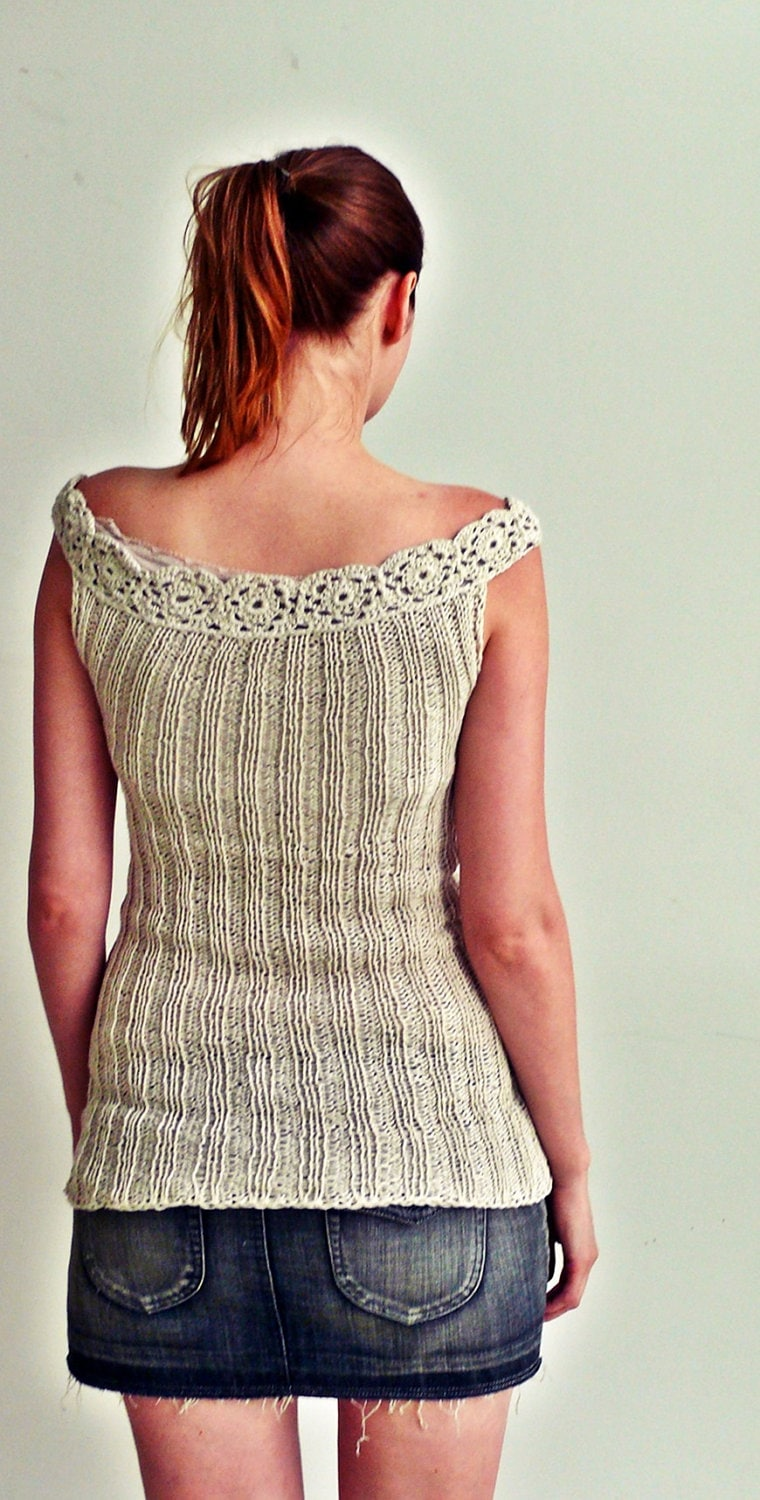 hand knit summer top tank sweater bamboo 100% - PauliszkaKnits