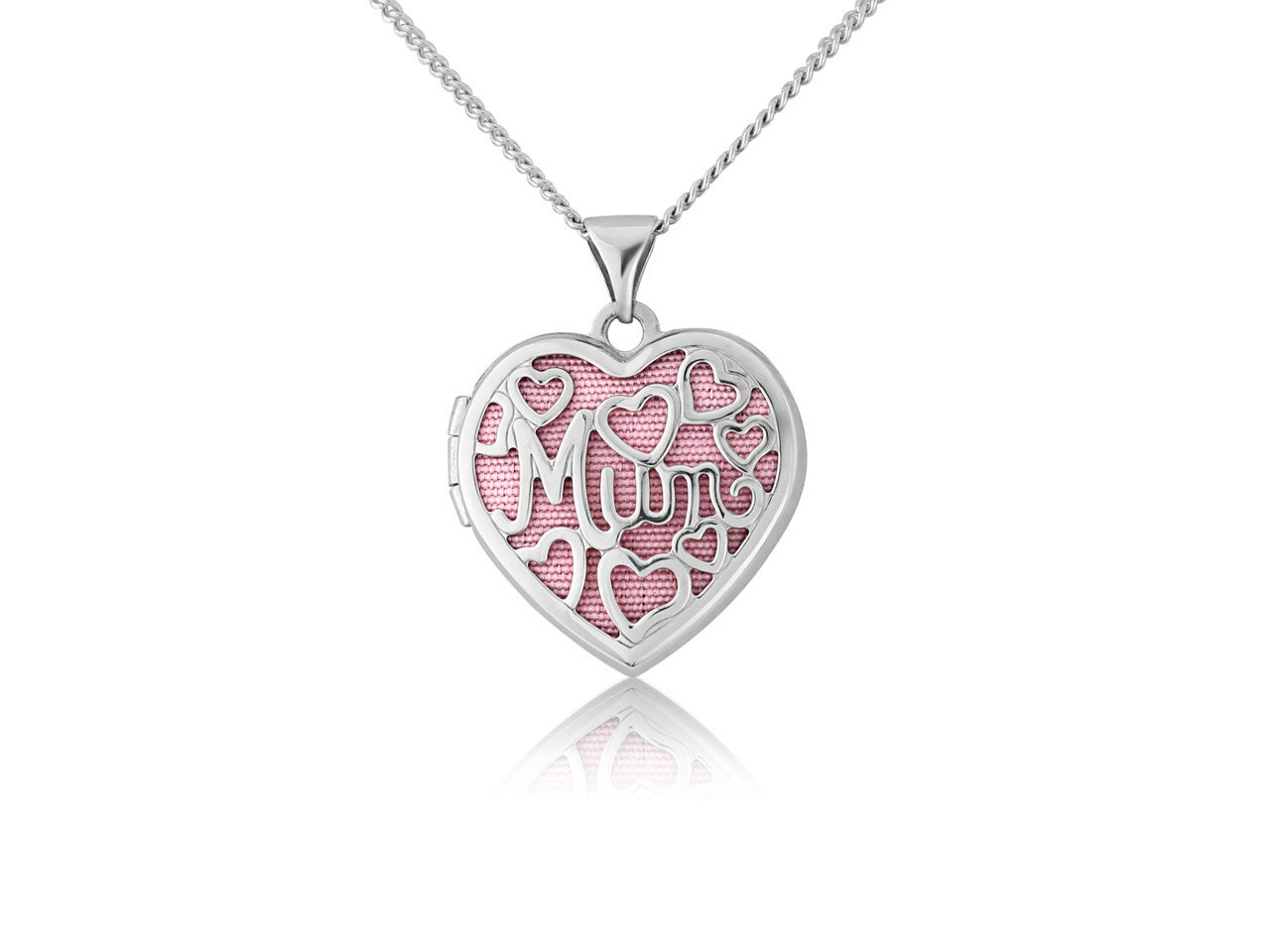 Sterling Silver Heart Filigree Mum Locket With Pink Insert And 1845cm Chain