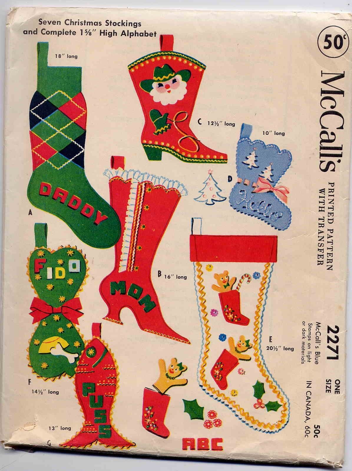 Vintage 1958 Mccall S Felt Christmas Stocking By
