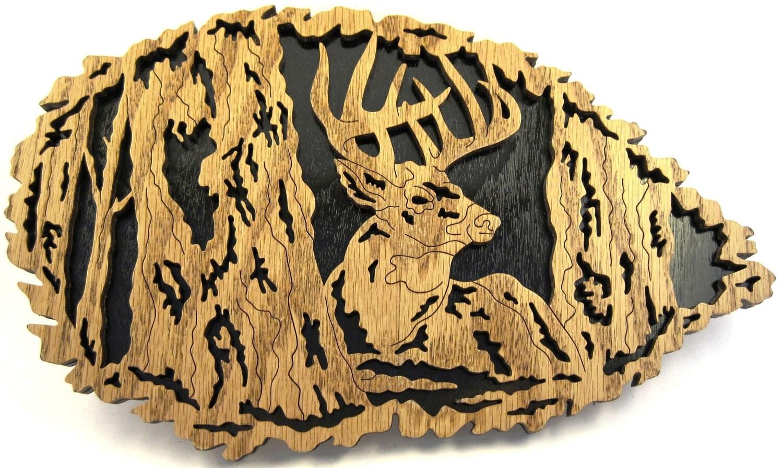 Deer in a leaf scroll saw cut6de by ScrollSawTreasures on Etsy