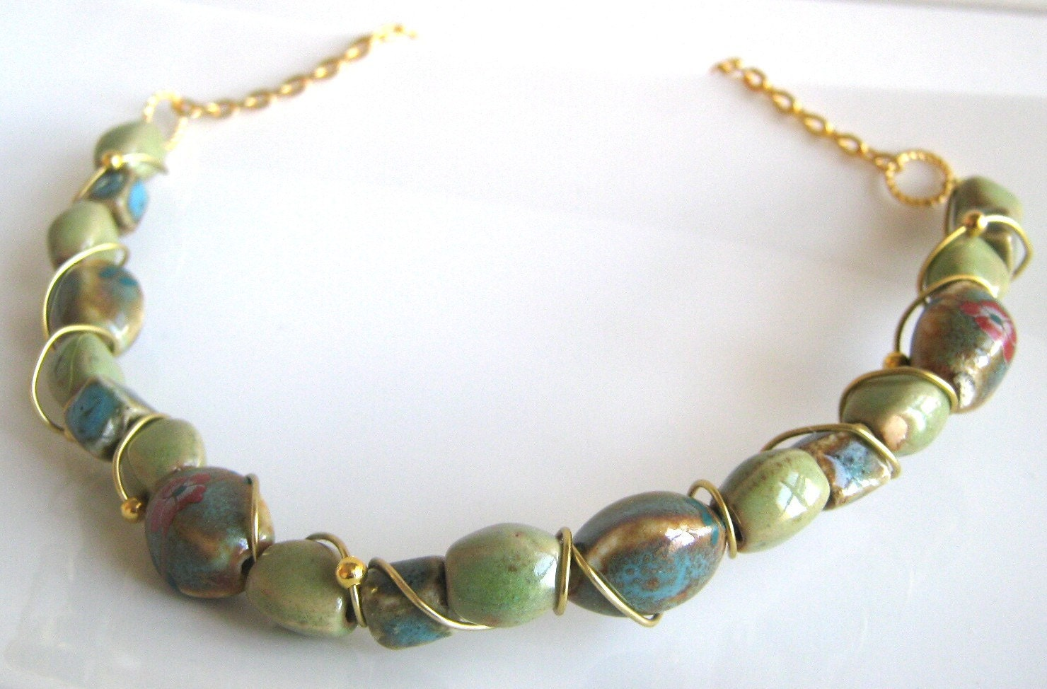wire wrapped necklace in teal, green, blue - PORCELAIN PANSIES