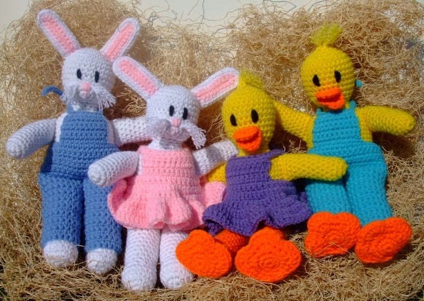 Crochet Pattern Easter Bunnies and Ducks
