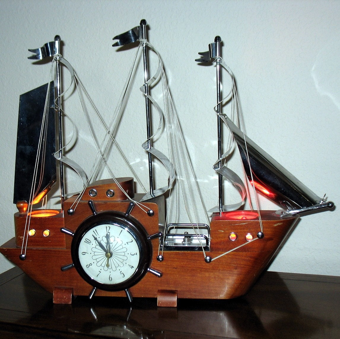 United Ship Sailboat Sail Boat Tv Clock Lamp By That70sshoppe