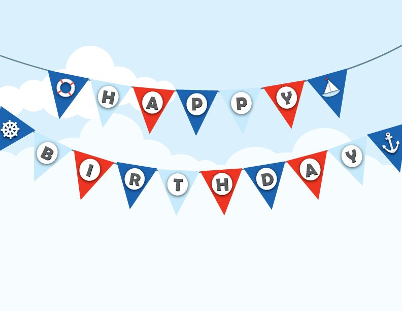 Printable nautical birthday bunting sailor by paperscissorspop