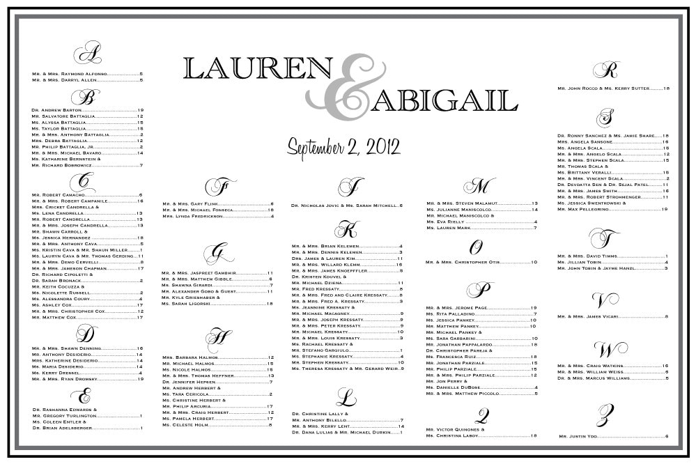 table assignments for weddings templates