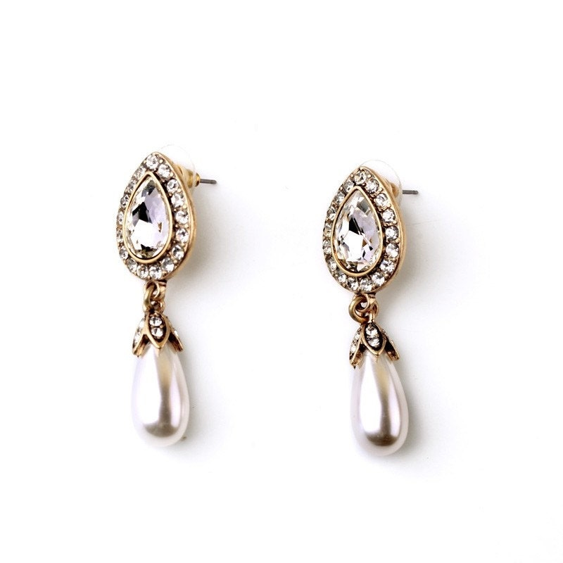 Pearl  Crystal Drop Earrings Antique Gold