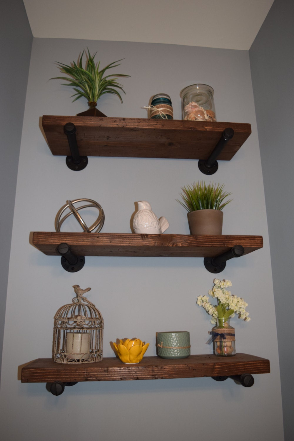 Wooden bathroom shelf