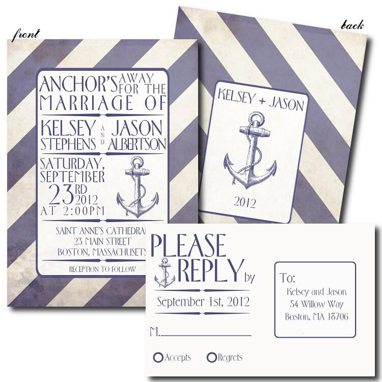 Items Similar To Nautical Themed Wedding Invitation Set