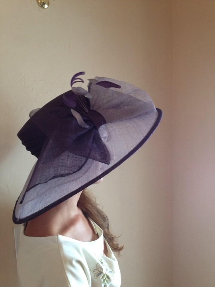 Fancy lavender royal purple hat mother of bride Kentucky derby - SparrowBridal