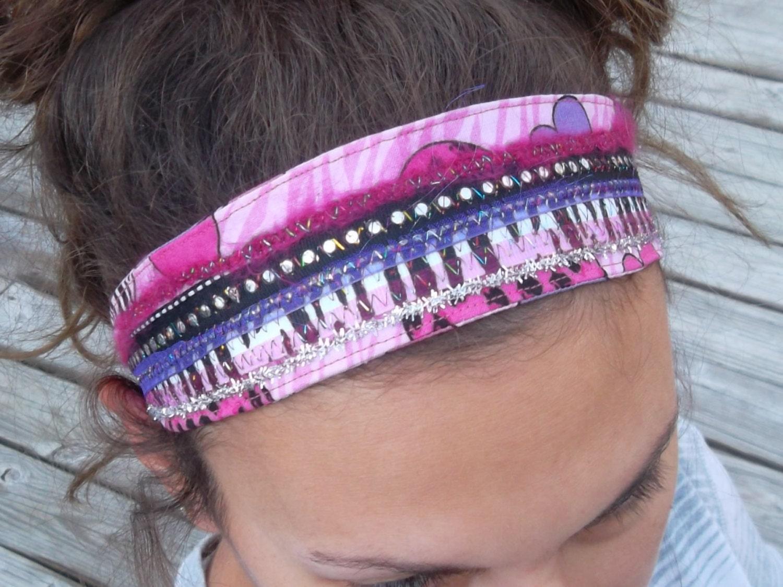 Pink and Purple Reversible Headband Zebra Heart Fabric Slip On Head Band - ransomletterhandmade