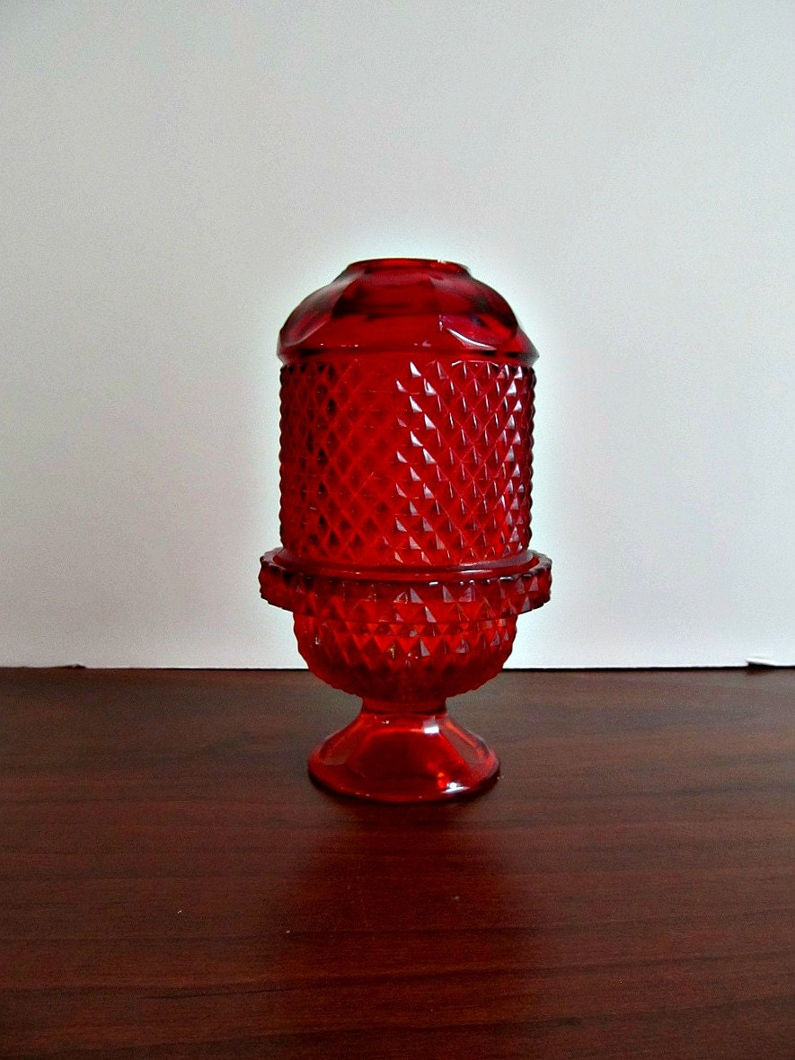 Red Fairy Lamp - Vintage Fenton Glass Candle Holder - Holiday Christmas Home Decor