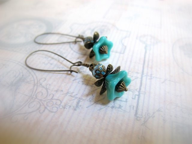 Teal Czech Flower Power- Earrings, With Baby Blue Crystals, Filigree Caps and Bronze Petals, Spring Wardrobe, Spring Flowers