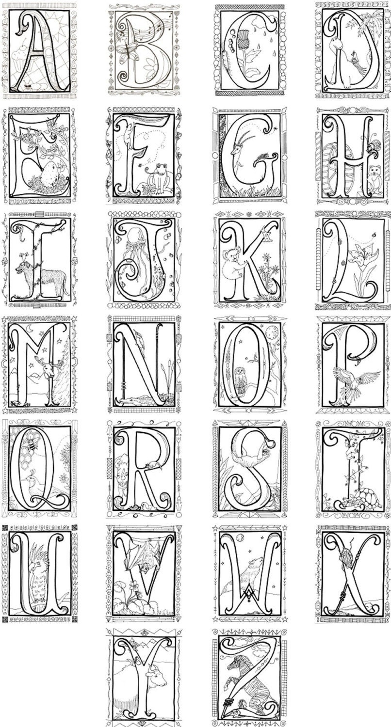 coloring book poster illuminated alphabet coloring poster by spiritdancerstudio